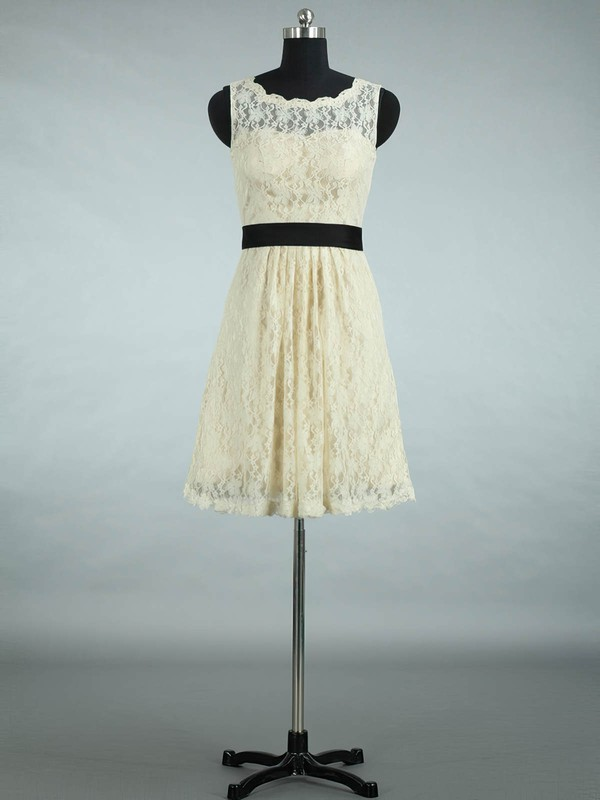 Lace Scalloped Neck Sashes / Ribbons Designer Short/Mini Bridesmaid Dresses #PWD01012861