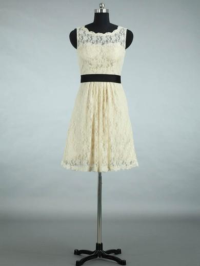 Lace Scalloped Neck Sashes / Ribbons Designer Short/Mini Bridesmaid Dresses #PWD01012861