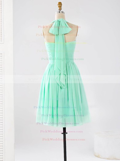 Short/Mini Halter Ruched Chiffon Sage Unique Bridesmaid Dresses #PWD01012862