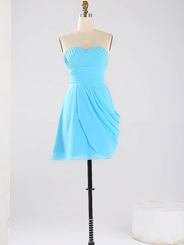 Short/Mini Blue Sweetheart Ruched Chiffon 2016 Bridesmaid Dresses #PWD01012864