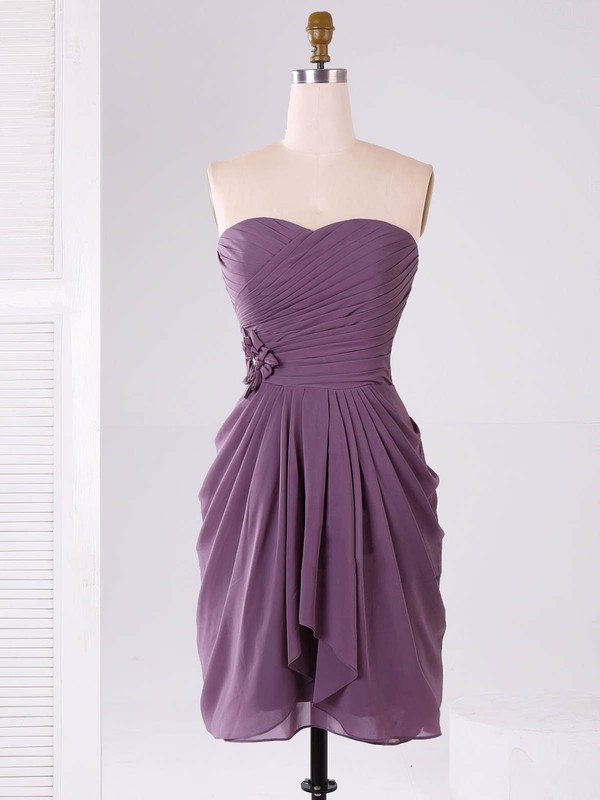Short/Mini Sweetheart Ruffles Chiffon Junior Bridesmaid Dresses #PWD01012865