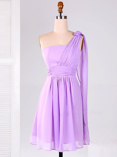 Best One Shoulder Lilac Chiffon Flower(s) Short/Mini Bridesmaid Dresses #PWD01012866