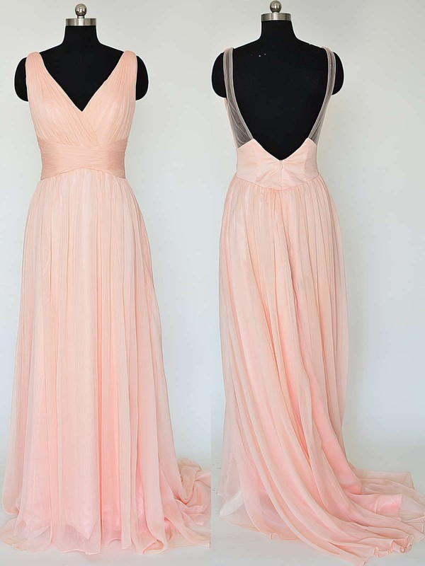 Backless V-neck Ruffles Chiffon Sweep Train Sparkly Bridesmaid Dresses #PWD01012867