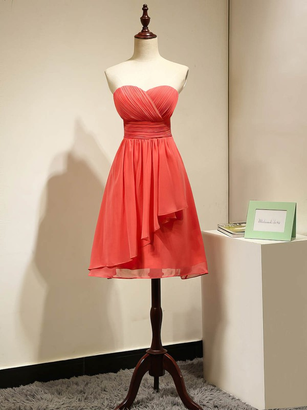 Sexy Watermelon Empire Ruched Chiffon Short/Mini Bridesmaid Dresses #PWD01012868