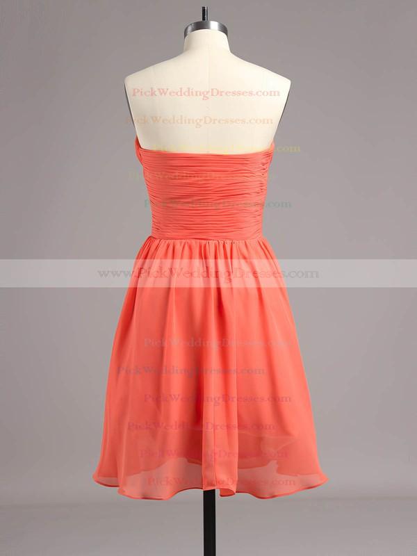 Sexy Watermelon Empire Ruched Chiffon Short/Mini Bridesmaid Dresses #PWD01012868
