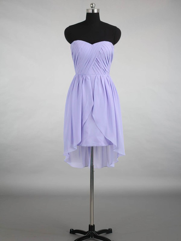 Ladies High Low Ruffles Chiffon Sweetheart Asymmetrical Bridesmaid Dresses #PWD01012870