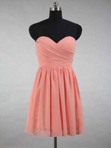 Short/Mini A-line Sweetheart Ruffles Chiffon Beautiful Bridesmaid Dresses #PWD01012871
