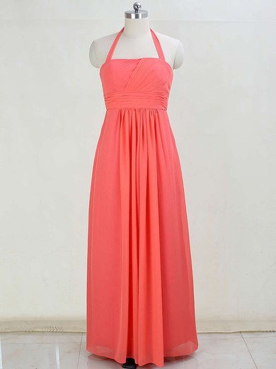 Halter Floor-length Chiffon with Ruffles Discount Bridesmaid Dresses #PWD01012873