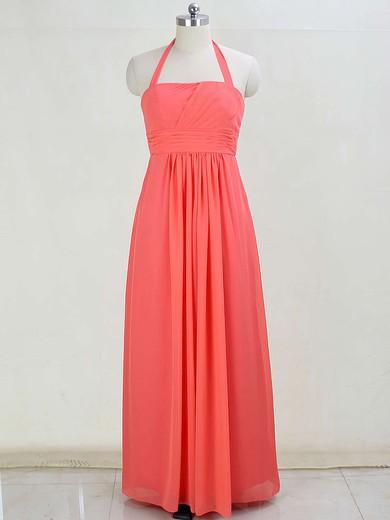 Halter Floor-length Chiffon with Ruffles Discount Bridesmaid Dresses #PWD01012873