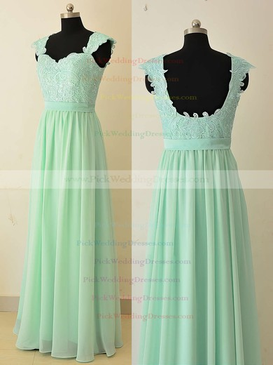 Floor-length Sweetheart Sage Chiffon Appliques Lace Stunning Bridesmaid Dresses #PWD01012874