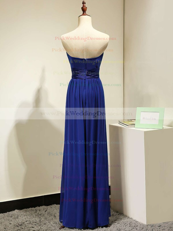 Strapless A-line Royal Blue Chiffon Sashes / Ribbons Juniors Bridesmaid Dresses #PWD01012875