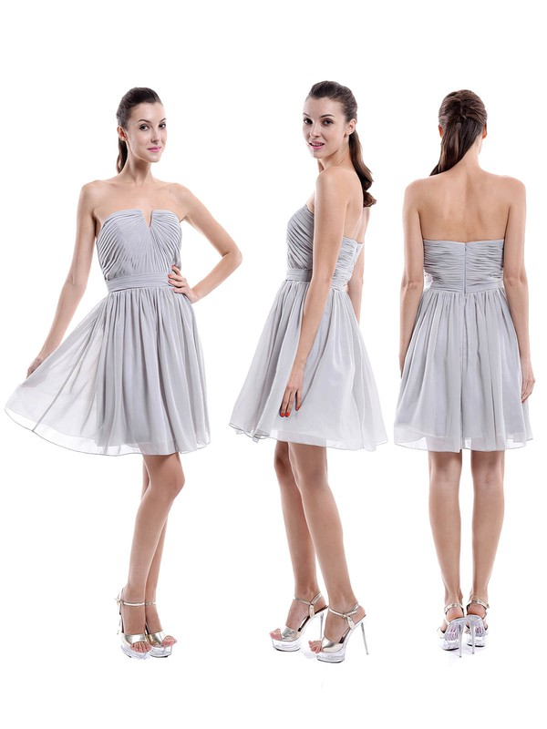 Strapless A-line Ruched Chiffon Short/Mini Wholesale Bridesmaid Dresses #PWD01012876