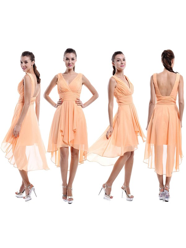 Asymmetrical V-neck Ruffles Chiffon Promotion Backless Bridesmaid Dresses #PWD01012877