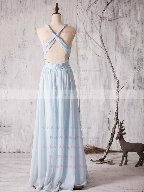 V-neck Ruffles Chiffon Floor-length Backless Fashion Bridesmaid Dress #PWD01012880