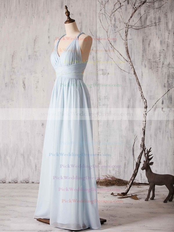 V-neck Ruffles Chiffon Floor-length Backless Fashion Bridesmaid Dress #PWD01012880