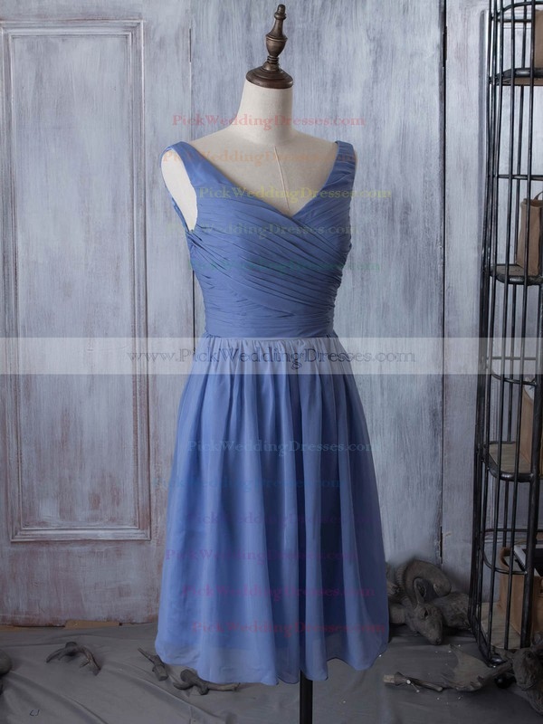 Knee-length V-neck Chiffon with Ruched Affordable Bridesmaid Dress #PWD01012881