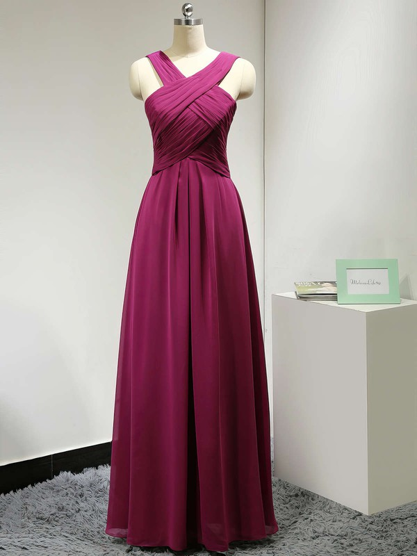 Floor-length V-neck Ruched Chiffon Discounted Bridesmaid Dress #PWD01012882