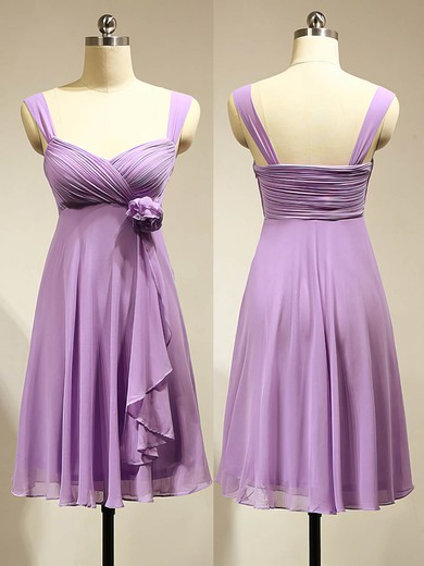 Short/Mini Empire Lavender Chiffon with Flower(s) Latest Bridesmaid Dress #PWD01012883