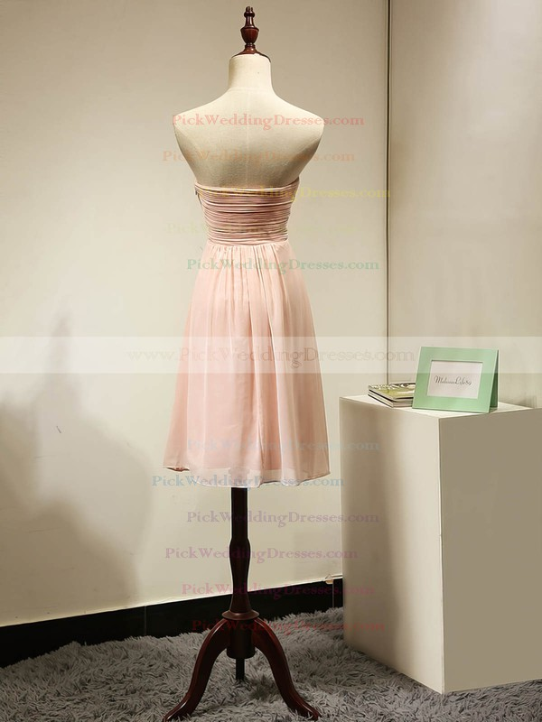 Short/Mini Sweetheart Ruched Chiffon Pink Simple Bridesmaid Dress #PWD01012884