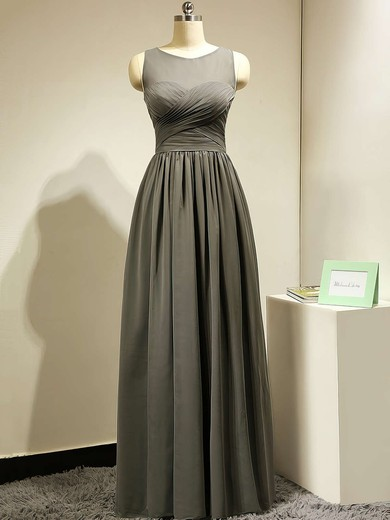 Floor-length Scoop Neck Gray Chiffon Tulle Ruffles Modest Bridesmaid Dress #PWD01012885