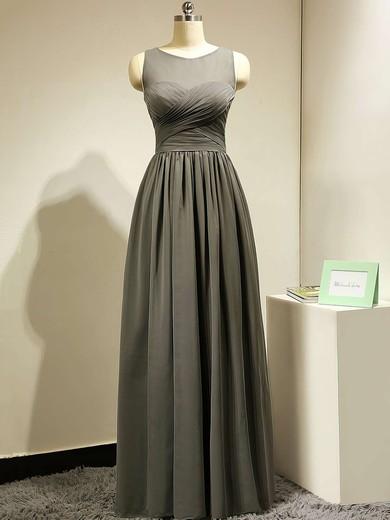 Floor-length Scoop Neck Gray Chiffon Tulle Ruffles Modest Bridesmaid Dress #PWD01012885