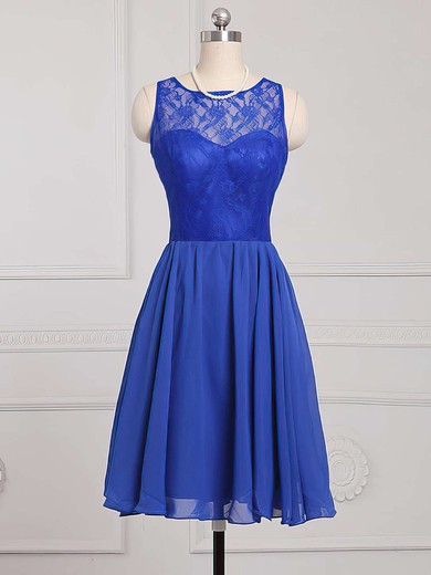 Knee-length Scoop Neck Royal Blue Chiffon with Lace Amazing Bridesmaid Dress #PWD01012886