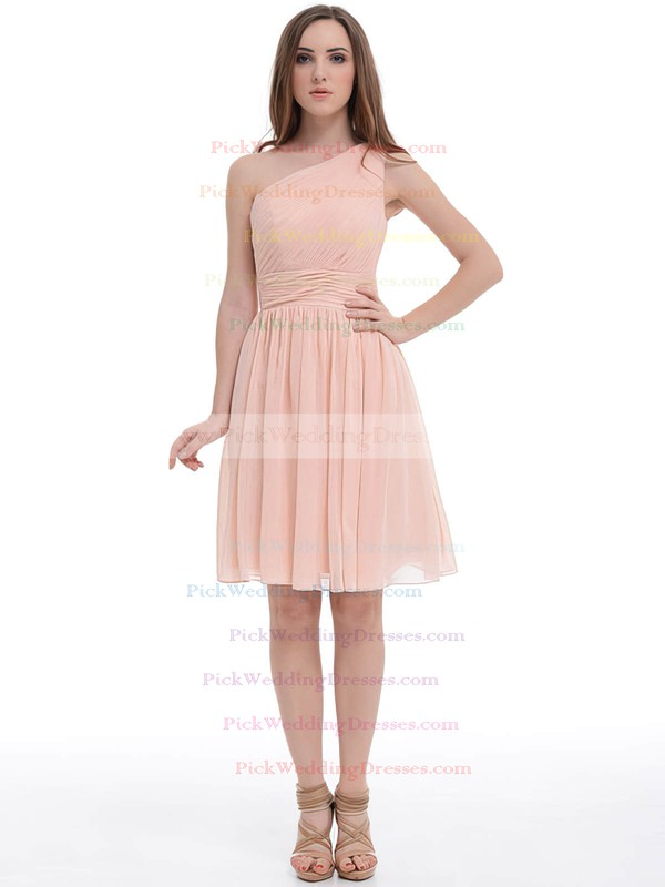 Girls Knee-length Pink Chiffon Ruched One Shoulder Bridesmaid Dress #PWD01012887