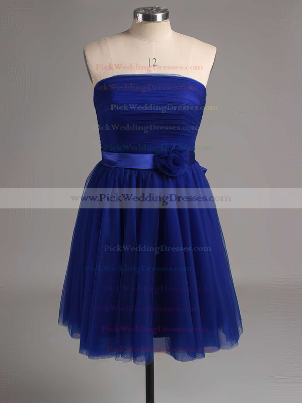 Short/Mini Strapless Lavender Satin Tulle with Bow Popular Bridesmaid Dress #PWD01012888