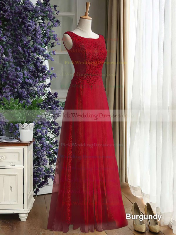 Floor-length Scoop Neck Lace Tulle with Ruffles Hot Bridesmaid Dress #PWD01012889