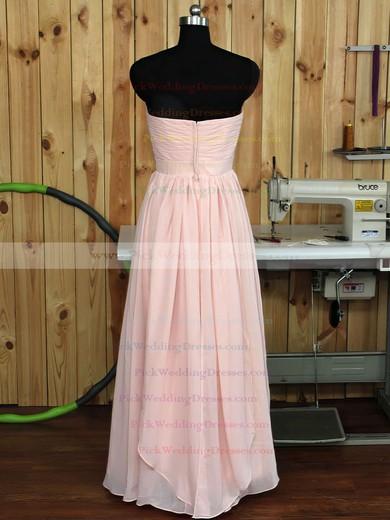 Floor-length Sweetheart Pink Chiffon Ruffles Nice Bridesmaid Dress #PWD01012890