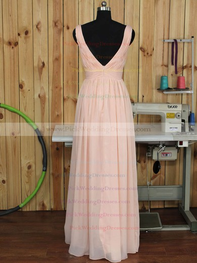 Backless V-neck Floor-length Ruched Chiffon Nicest Bridesmaid Dress #PWD01012891