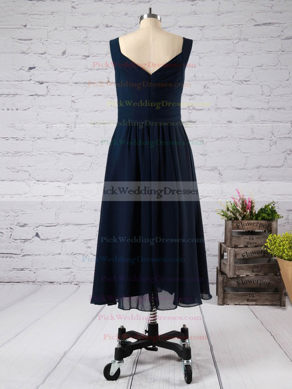 Tea-length V-neck Pink Chiffon with Ruffles Glamorous Bridesmaid Dress #PWD01012892
