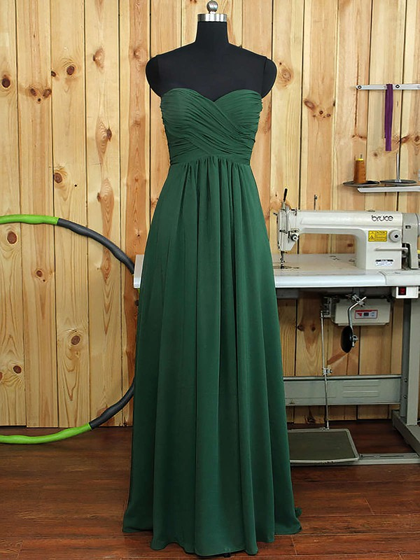Dark Green Sweetheart Ruffles Chiffon A-line Boutique Bridesmaid Dress #PWD01012894