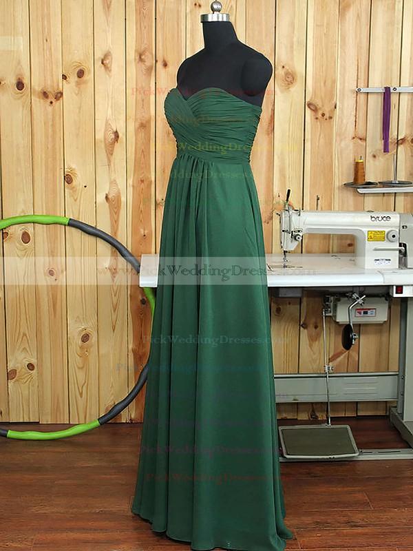 Dark Green Sweetheart Ruffles Chiffon A-line Boutique Bridesmaid Dress #PWD01012894