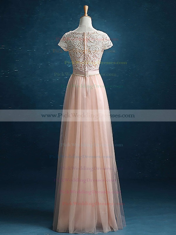 Short Sleeve Scoop Neck A-line Lace Tulle Sashes / Ribbons Elegant Bridesmaid Dress #PWD01012895
