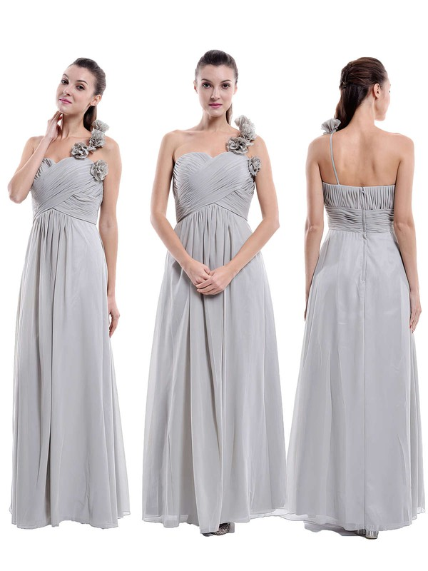 One Shoulder Chiffon with Flower(s) Floor-length Unique Bridesmaid Dress #PWD01012896
