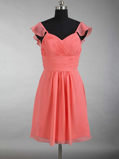 Short/Mini V-neck Watermelon Chiffon with Ruffles Online Bridesmaid Dress #PWD01012897