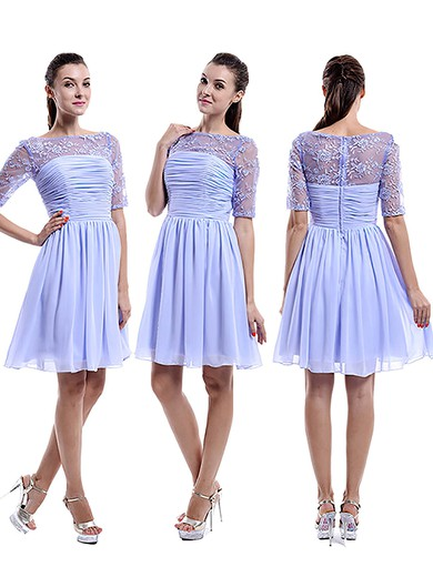 2016 Knee-length Chiffon Tulle Appliques Lace Scoop Neck 1/2 Sleeve Bridesmaid Dress #PWD01012898