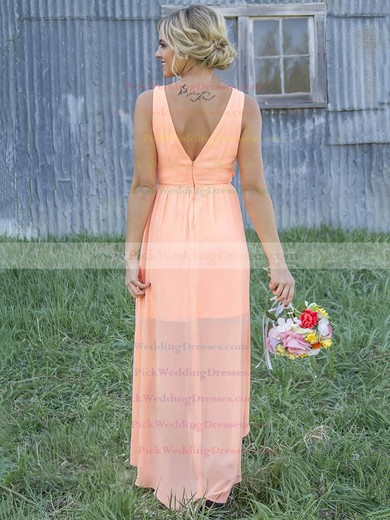New A-line Scoop Neck Chiffon Appliques Lace Asymmetrical Bridesmaid Dresses #PWD01012899