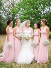 A-line Chiffon with Ruffles Scoop Neck Floor-length Fabulous Bridesmaid Dresses #PWD01012900