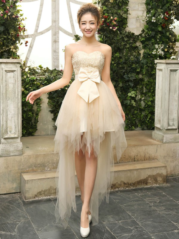 Asymmetrical A-line Sweetheart Lace Tulle with Bow Classy Bridesmaid Dresses #PWD01012901