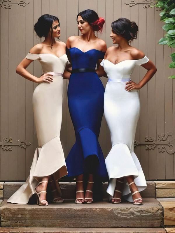 Trumpet/Mermaid Elastic Woven Satin Sashes / Ribbons Off-the-shoulder Asymmetrical Bridesmaid Dress #PWD01012902
