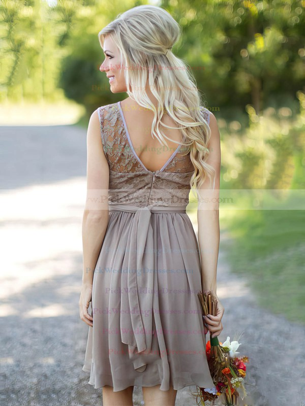 Perfect A-line Scoop Neck Lace Chiffon Sashes / Ribbons Knee-length Bridesmaid Dresses #PWD01012903