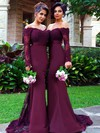 Off-the-shoulder Trumpet/Mermaid Tulle Silk-like Satin Sweep Train Appliques Lace Long Sleeve Bridesmaid Dresses #PWD01012904