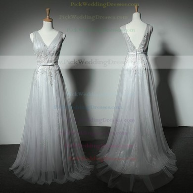 A-line Floor-length Tulle with Appliques Lace Beautiful V-neck Bridesmaid Dresses #PWD01012905