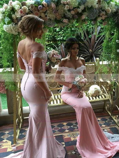 Backless Off-the-shoulder Silk-like Satin Sweep Train Appliques Lace Trumpet/Mermaid Bridesmaid Dresses #PWD01012906