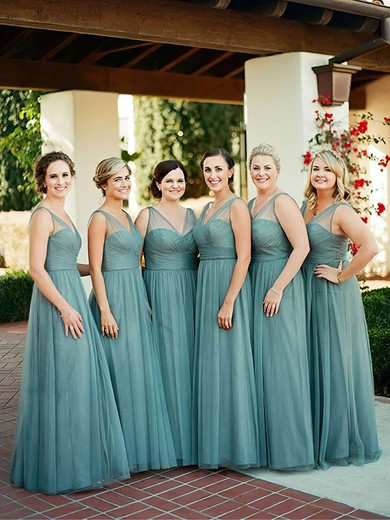 Affordable A-line Tulle with Ruffles Floor-length V-neck Bridesmaid Dresses #PWD01012907