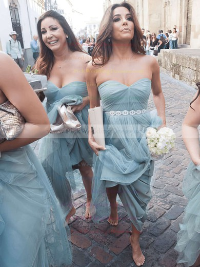 A-line Floor-length Sweetheart Tulle with Beading Newest Bridesmaid Dresses #PWD01012908