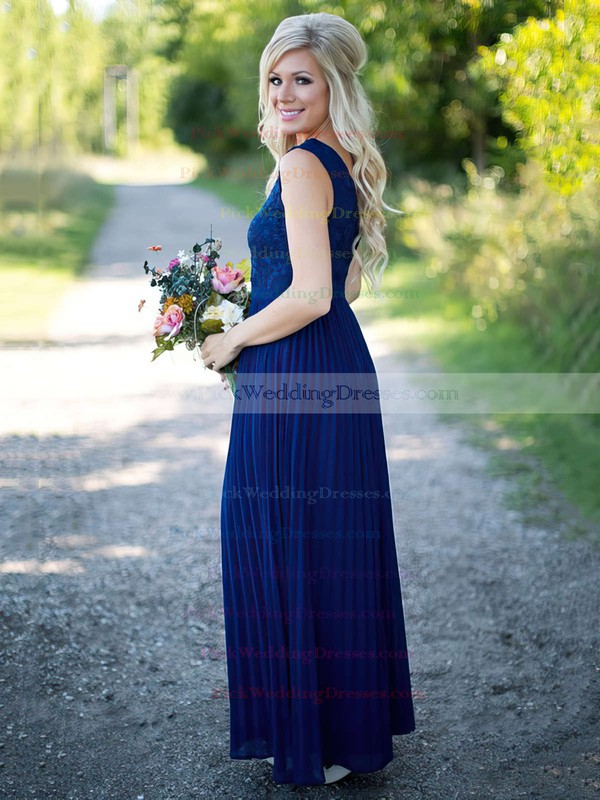 V-neck A-line Floor-length Lace Chiffon with Pleats Graceful Bridesmaid Dresses #PWD01012909