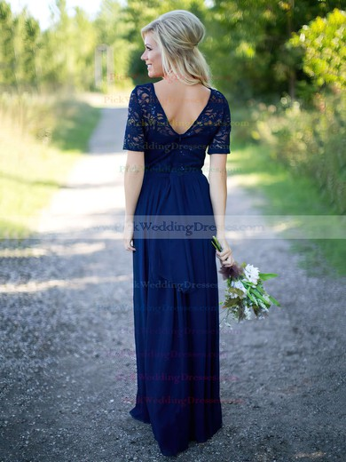 Elegant A-line Scoop Neck Floor-length Lace Chiffon Sequins Short Sleeve Bridesmaid Dress #PWD01012910